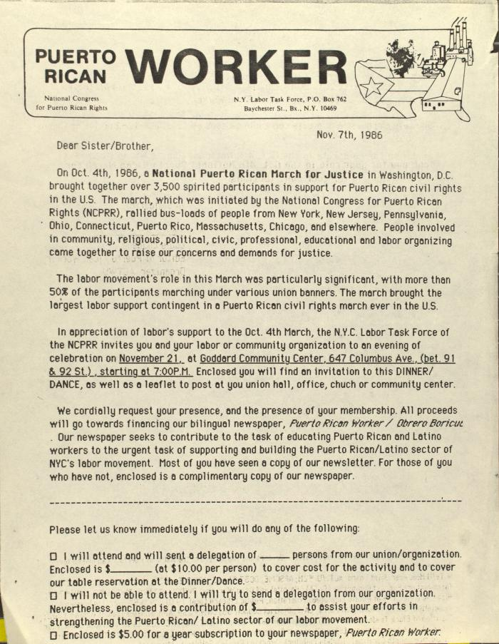 Correspondence from the Puerto Rican Worker of the National Congress for Puerto Rican Rights
