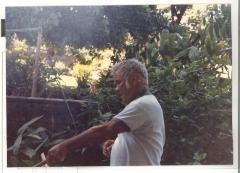 Albert Montalbo roasting a pig