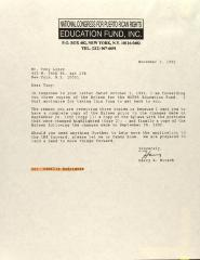 Correspondence from the National Congress for Puerto Rican Rights Education Fund