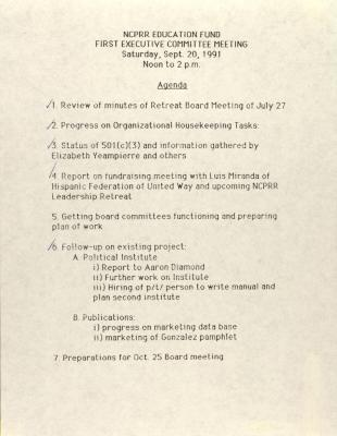 NCPRR Education Fund - First Executive Committee Meeting - Agenda