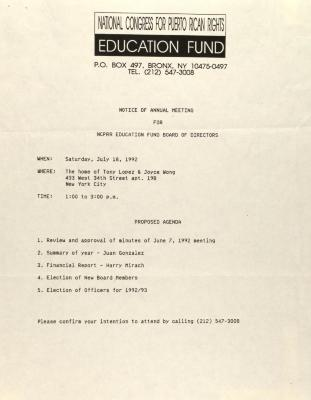 Notice of Annual Meeting for NCPRR Education Fund Board of Directors