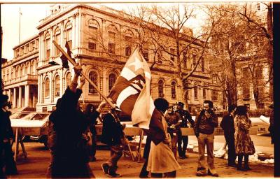 Activists waving the Puerto Rican flag during the Hostos Community College demonstrations