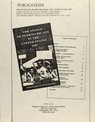 The Status of Puerto Ricans in the United States - 1987