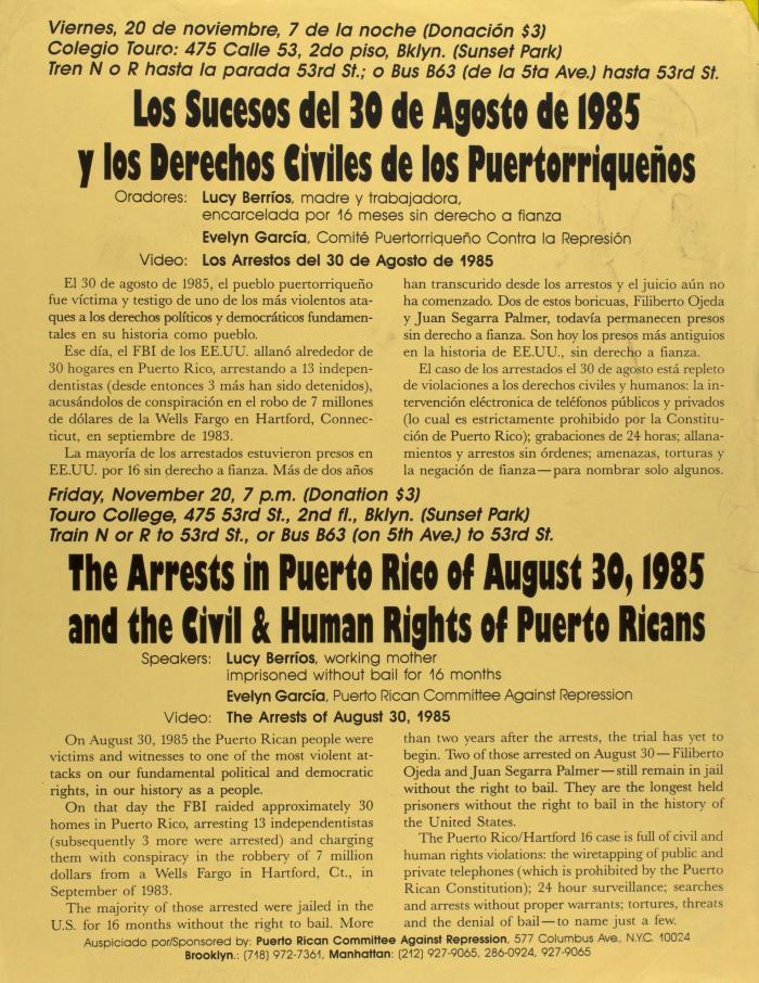 Los Sucesos del 30 de Agosto de 1985 y los Derechos Civiles de los Puertorriqueños / The Arrests in Puerto Rico of August 30, 1985 and the Civil & Human Rights of Puerto Ricans
