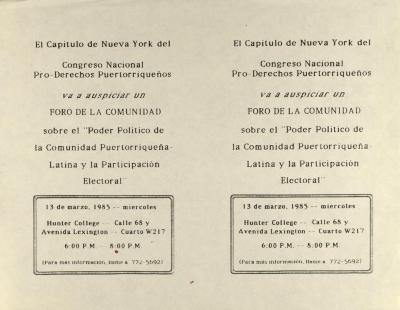 Poder Politico de la Comunidad Puertorriqueña-Latina y la Participacion Electoral / Political Power of the Puerto Rican-Latin Community and Electoral Participation