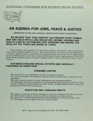An Agenda for Jobs, Peace, & Justice