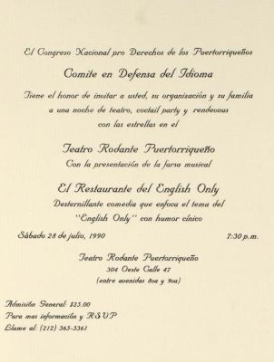 El Restaurante del English Only / The English Only Restaurant