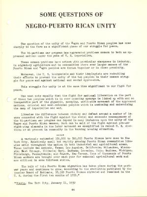 Some questions of the Negro-Puerto Rican Community, pages 44-48