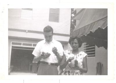Herman Badillo with maternal aunt Damaris (Mari) Sorrentini Rivera in Puerto Rico