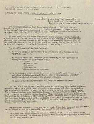 Summary of Task Force Organizing Work 1984-1986