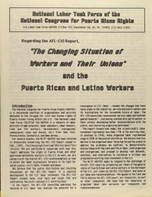 """The Changing Situation of Workers and Their Unions"" and the Puerto Rican and Latino Workers"
