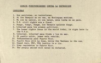 Comité Puertorriqueño Contra La Represión / Puerto Rican Committee Against Repression