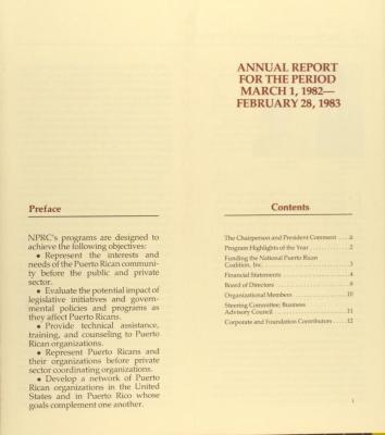National Puerto Rican Coalition - Annual Report for the Period March 1, 1982 - February 28, 1983