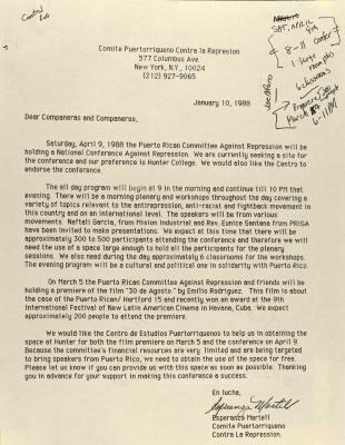 Correspondence from the Puerto Rican Committee Against Repression
