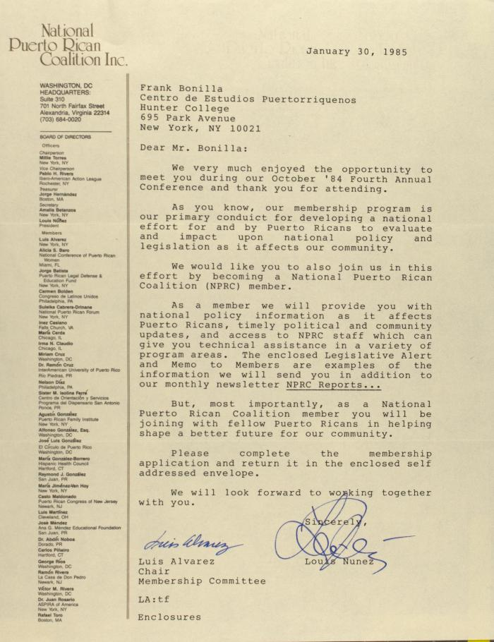 Correspondence from the National Puerto Rican Coalition