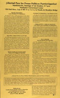 Libertad Para los Preso Políticos Puertorriqueños / Free All Puerto Rican Political Prisoners!