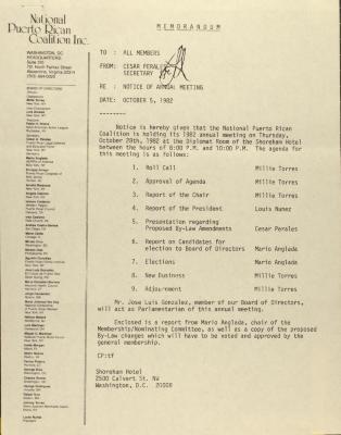 Memorandum from the National Puerto Rican Coalition, Inc.