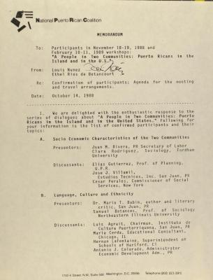 Memorandum from the National Puerto Rican Coalition