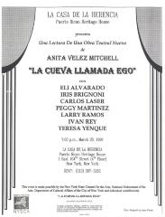 "Flyer for Anita Velez Mitchell's play ""La Cueva Llamada Ego"""