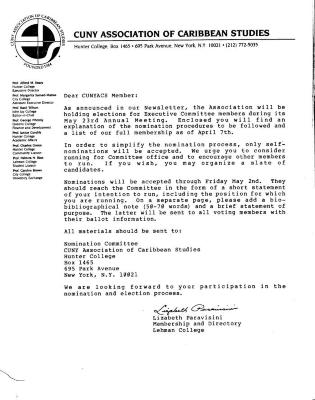 CUNY Association of Caribbean Studies membership letter regarding nomination polls for Executive Committee members