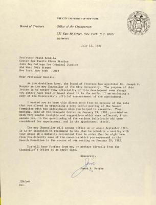 Correspondence from the City University of New York, Office of the Chairperson