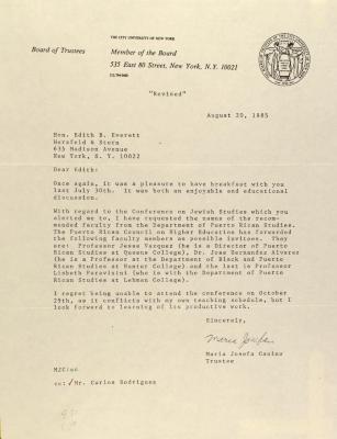 Correspondence from City University of New York
