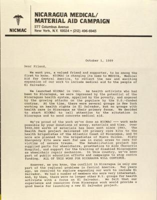 Correspondence from Nicaragua Medical/Material Aid Campaign