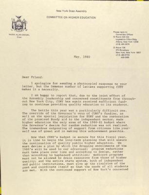 Correspondence from New York State Assembly