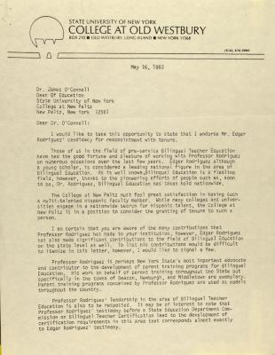 Correspondence from SUNY College at Old Westbury