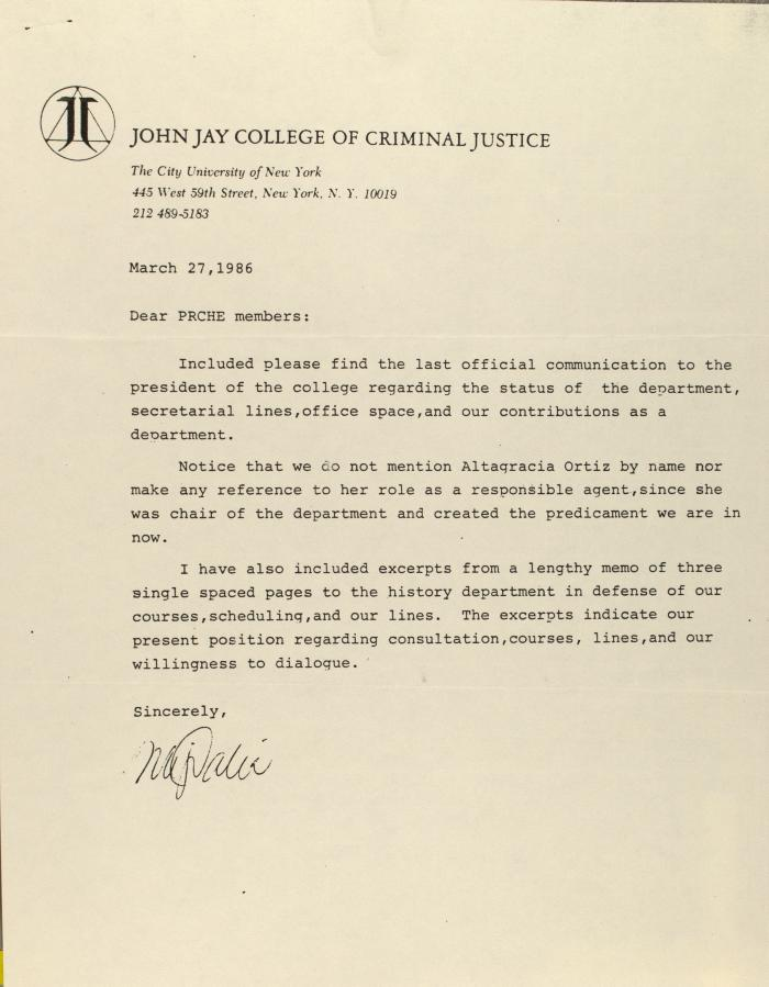 Correspondence from the John Jay College of Criminal Justice