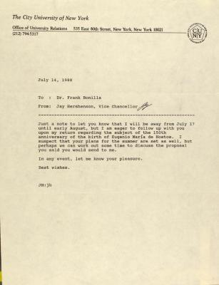 Memorandum from the City University of New York