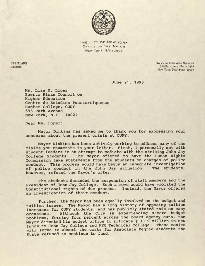 Correspondence from the New York City Mayor's Office