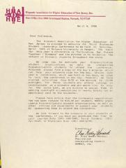 Correspondence from the Hispanic Association for Higher Education of New Jersey, Inc.