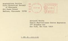 Correspondence from the State Historical Society of Wisconsin