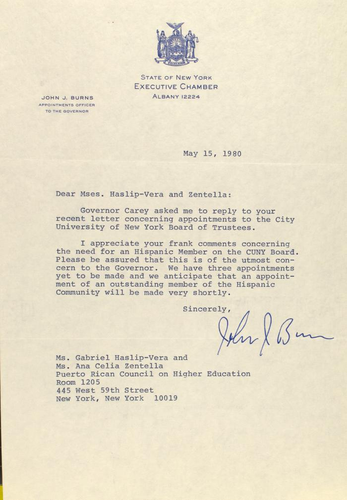 Correspondence from the State of New York - Executive Chamber