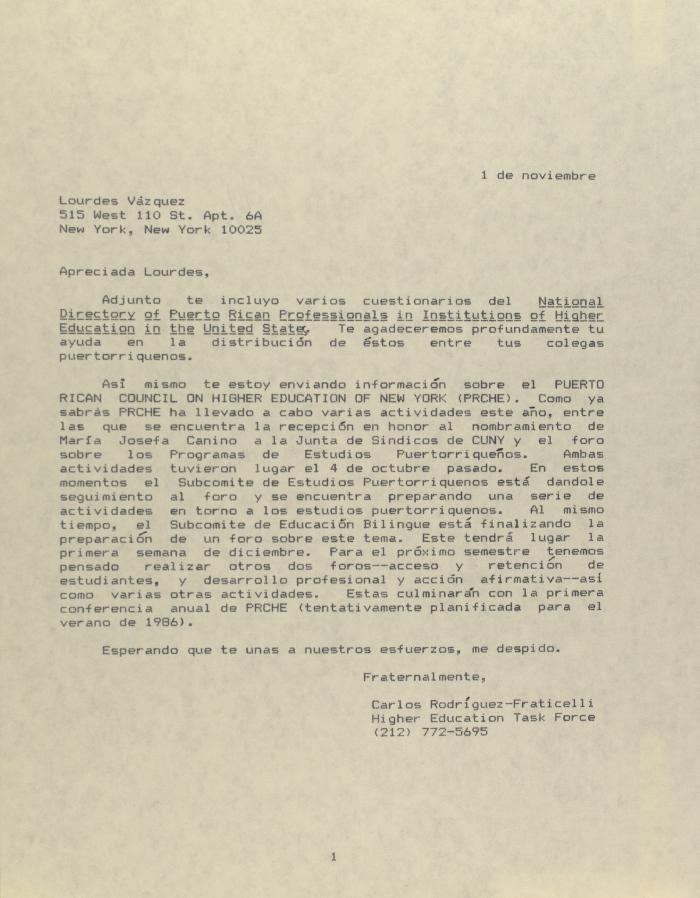 Correspondence from Carlos Rodriguez-Fraticelli
