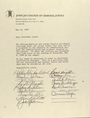 Correspondence from John Jay College of Criminal Justice