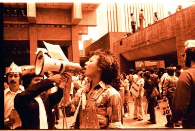 An activist with a bullhorn during the Hostos Community College demonstrations