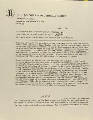 Memorandum from John Jay College of Criminal Justice