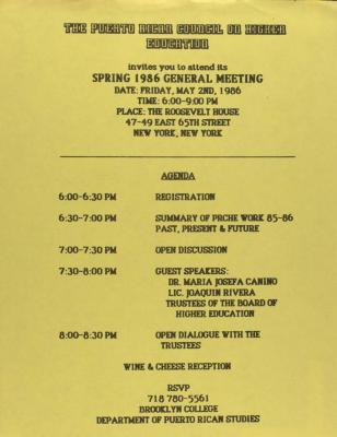Puerto Rican Council on Higher Education - General Meeting Agenda