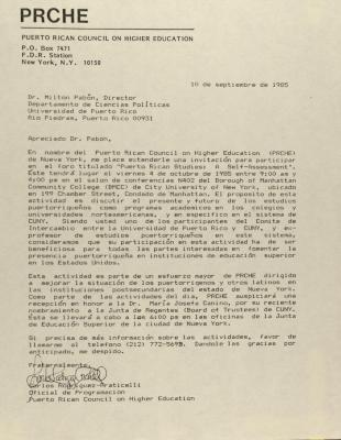 Correspondence from the Puerto Rican Council on Higher Education