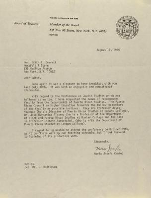 Correspondence from the City University of New York