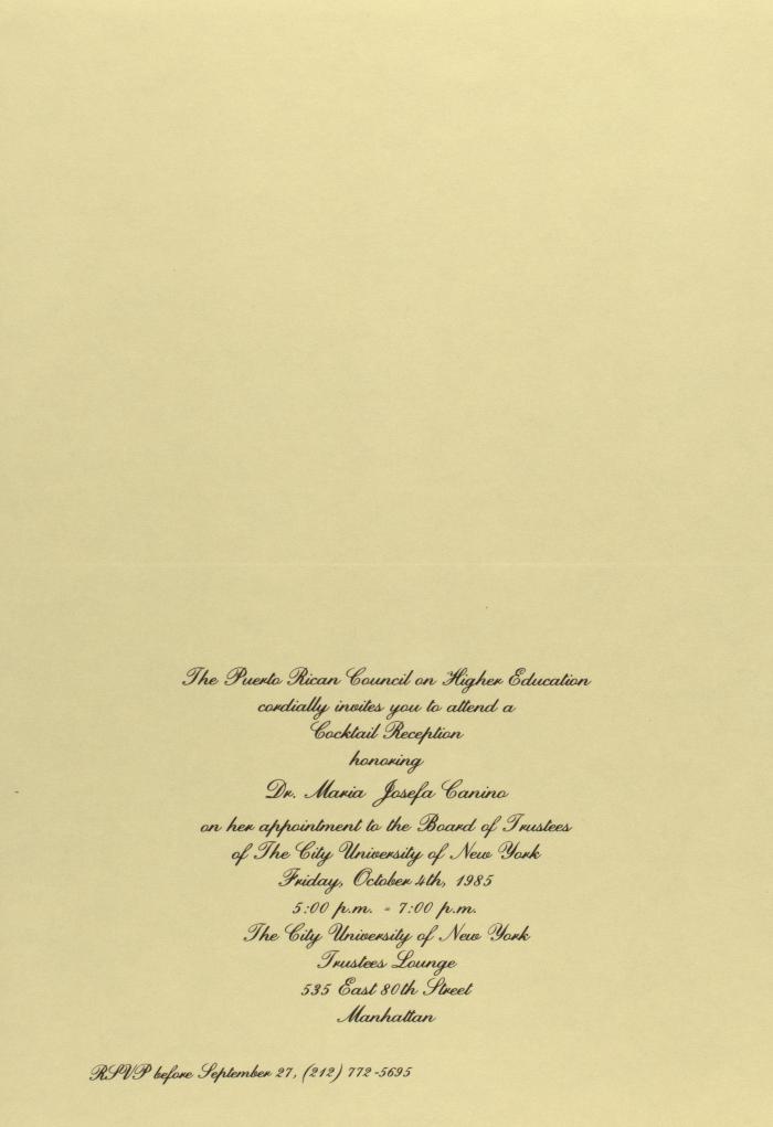 Cocktail Reception Honoring María Josefa Canino