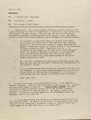 Memorandum from Joseph Pereira
