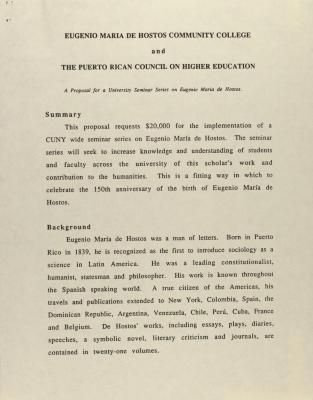 Eugenio Maria De Hostos Community College and the Puerto Rican Council on Higher Education
