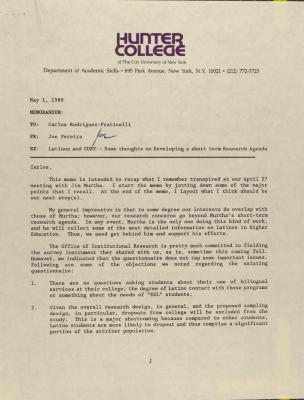 Memorandum from Hunter College