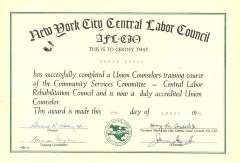AFL-CIO Union Counselor Certificate to Edwin Lopez