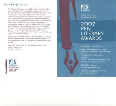 2007 Pen Literary Awards program