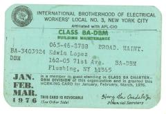 Labor Union Working Card