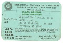 Labor Union Working Card
